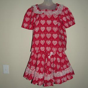 Vtg Red Calico Heart Square Dance Circle Skirt Top